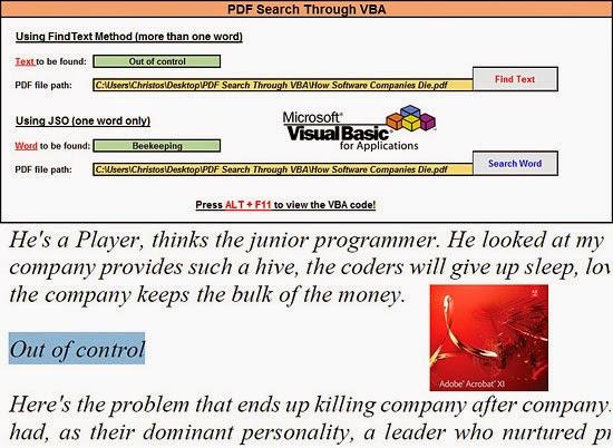 PDF Search Through VBA