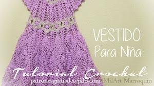 Vestido para Niña al Crochet con motivo de Piñas y flores / Tutorial