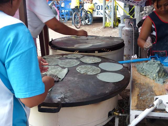 Tortillas de maíz azules