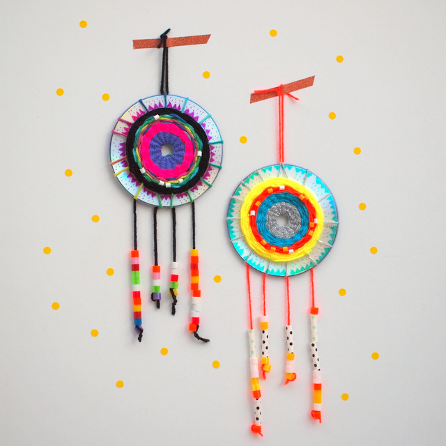 fun kids weaving art and craft project- make woven cd dream catchers