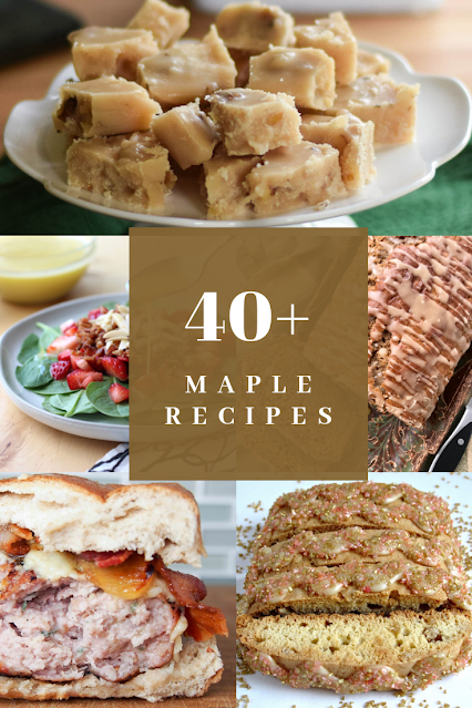 Collage of recipes featuring maple syrup or maple sugar.