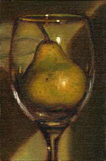 Oil painting with a green background of a pear in a large wine glass.