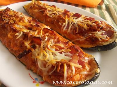 Calabacines rellenos de atún sabor pizza