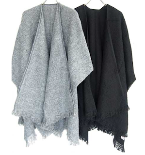 Warm Laura Knitted Poncho in Charcoal and Black