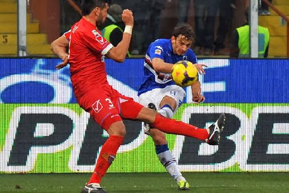 Sampdoria player Manolo Gabbiadini shoots to score his side's second goal against Catania