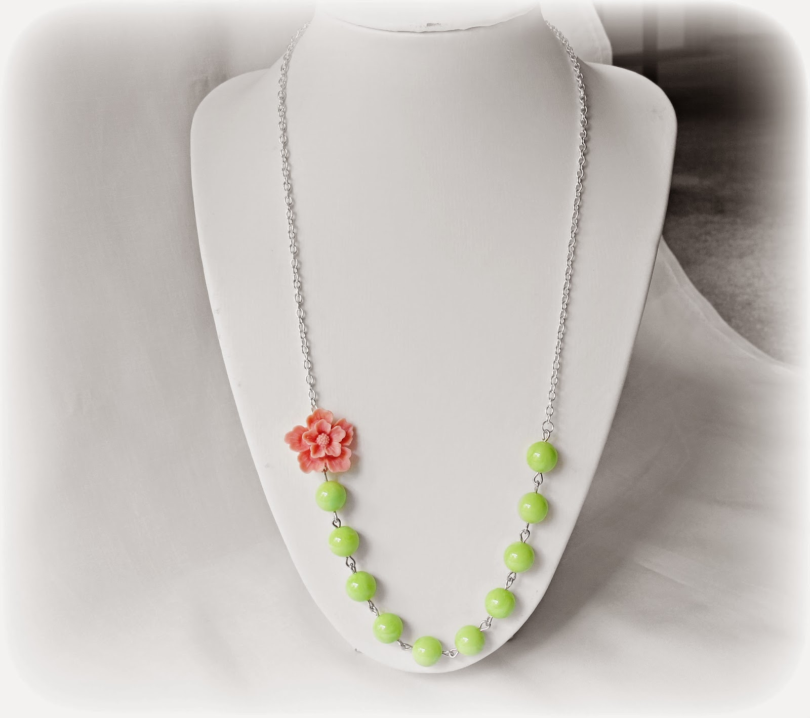 image melian necklace candyland range two cheeky monkeys pink sakura flower avocado green vintage beads