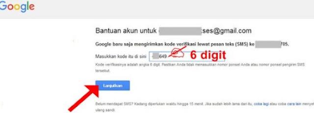Masukkan kode verifikasi Google yang telah dikirimkan ke HP Anda