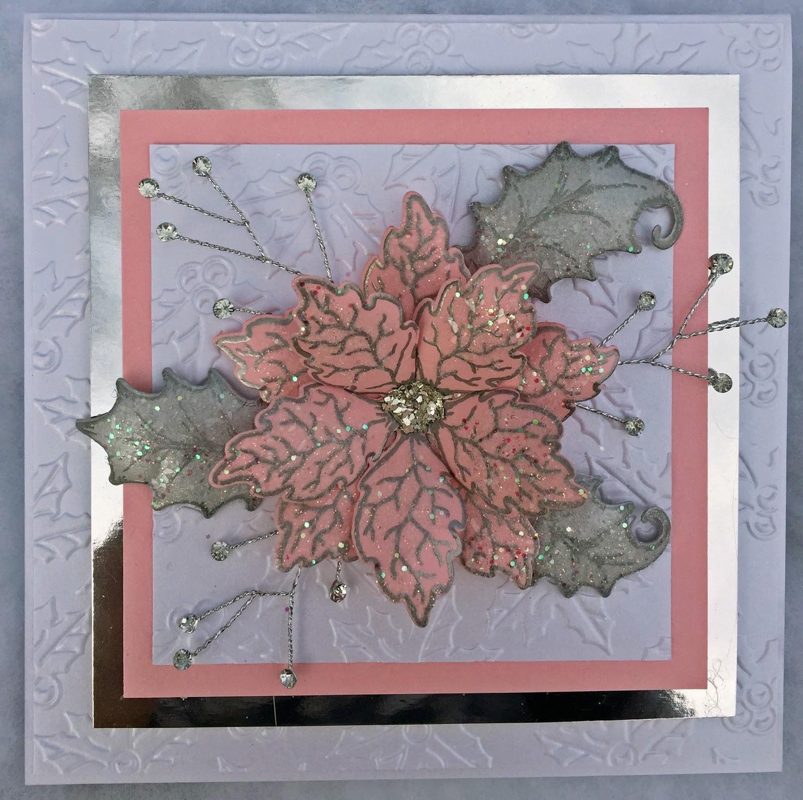 Jans Paper Flowers Heartfelt Creations Mirrored Sparkling Poinsettia