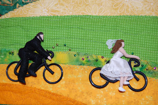 The Groom and Bride on Bicycles