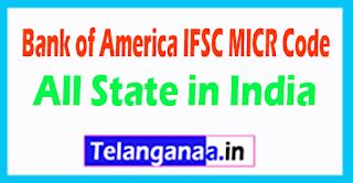 Bank of America IFSC MICR Code All State in India