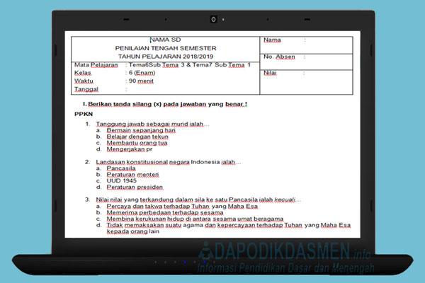 Soal UTS / PTS SD Kelas 6 Semester 2 Kurikulum 2013