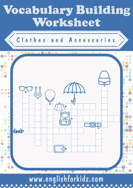 Clothes and accessories vocabulary crossword