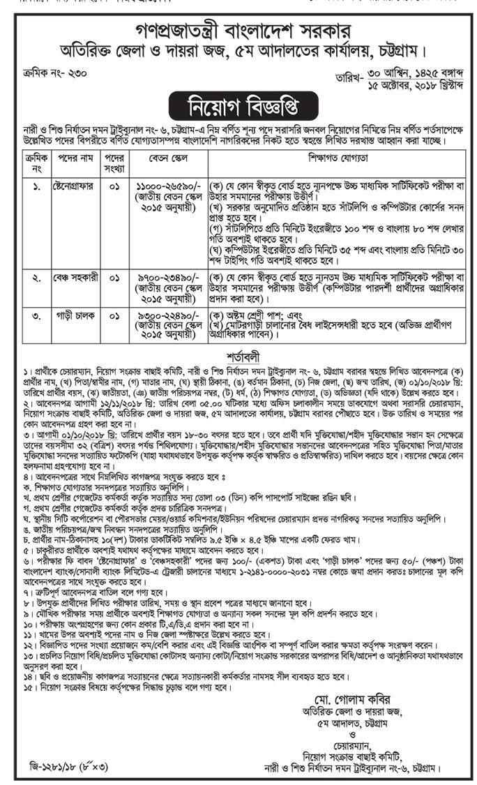 Chittagong Additional District Judge Court Job Circular 2018