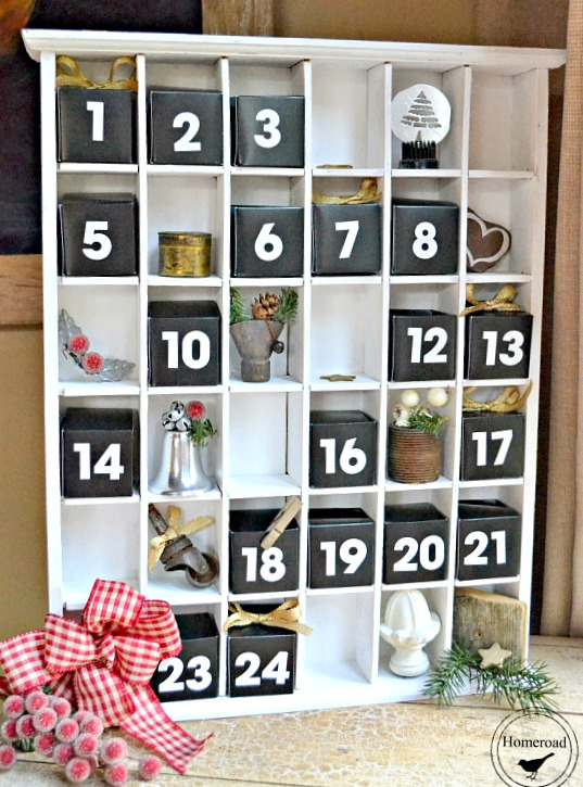 A DIY advent calendar using a shot glass display piece