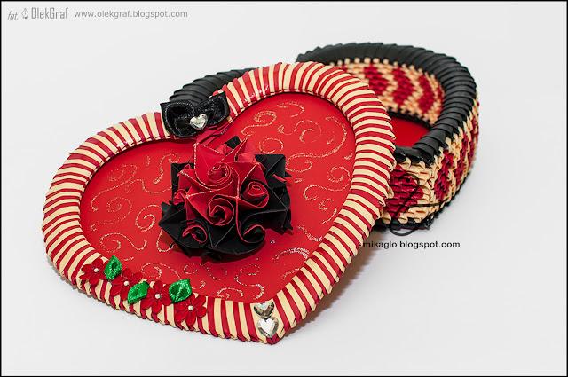542. Szkatułka z origami na walentynki / 3d origami heart box for Valentine's Day