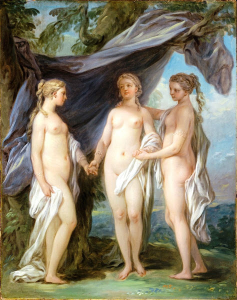 The Three Graces by Charles André Van Loo, Classical mythology, Greek mythology, Roman mythology, mythological Art Paintings, Myths and Legends