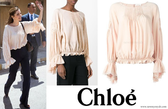 Queen Rania wore Chloé bell sleeve blouse