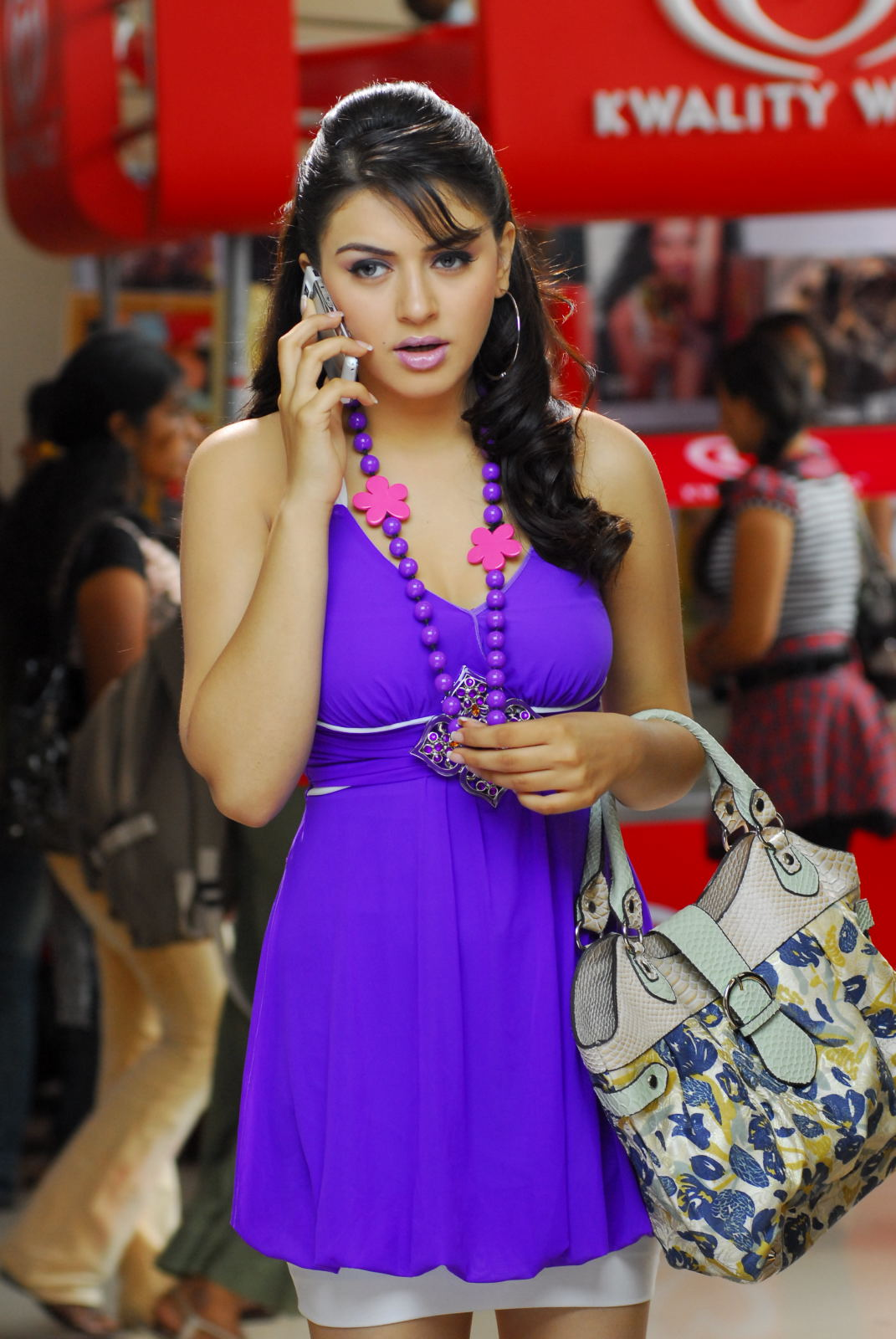 Kollywood Actress Hansika Motwani Stills in Violet Dress