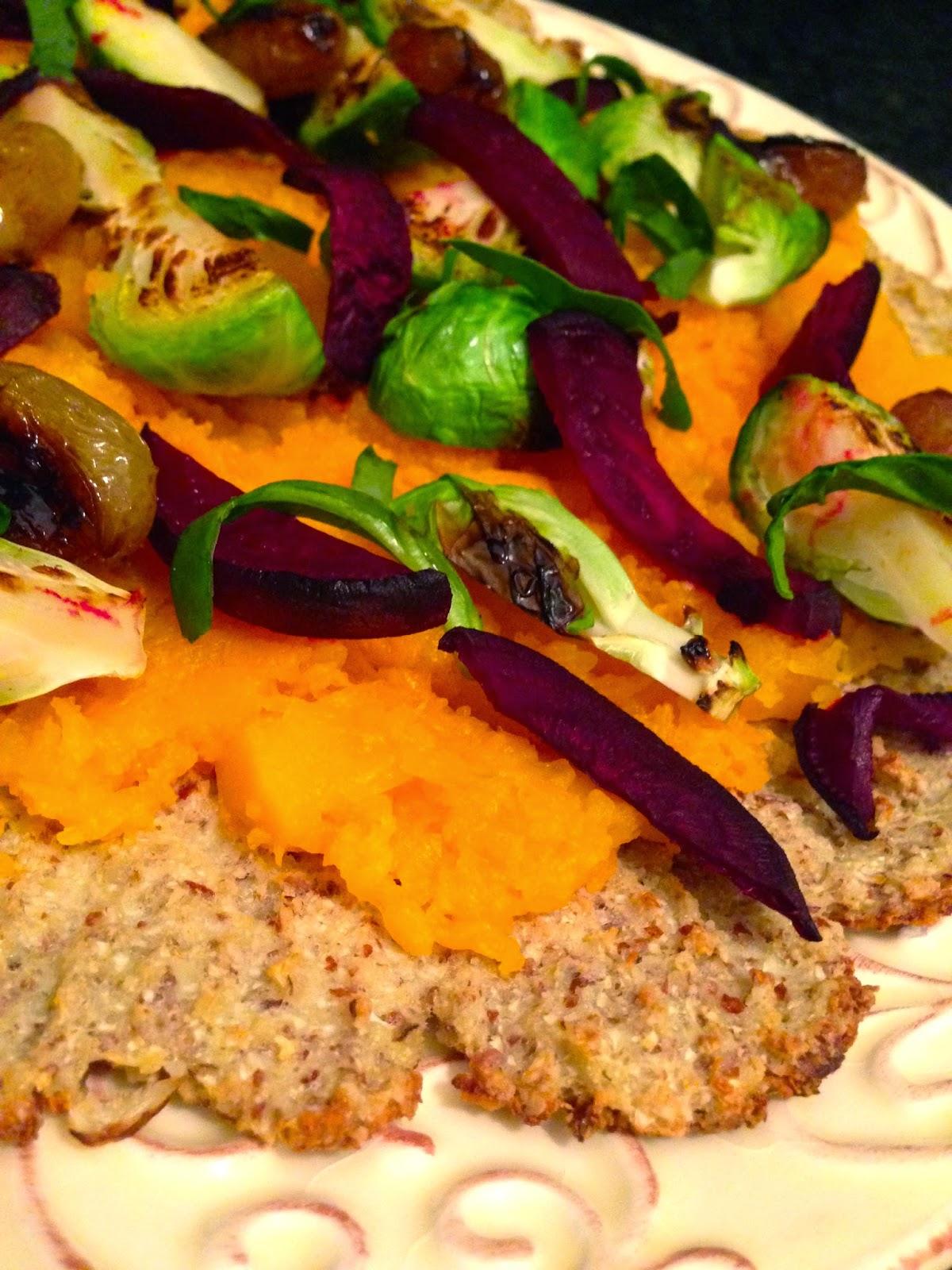 Roasted Veggie Flatbread Pizza by BeautyBeyondBones - #glutenfree #grainfree #vegan #vegetarian #paleo #keto #edrecovery #recovery #food #specificcarbohydratediet