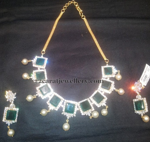 Square Shaped Emerald Necklace