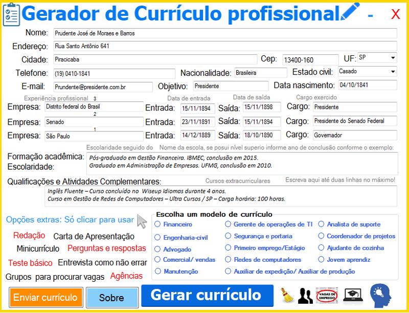 Programa gerador de Currículo