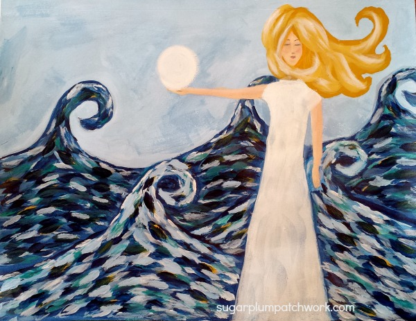 acrylic painting of princess holding the moon over the sea waves