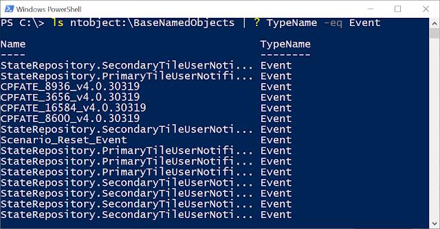PowerShell console showing listing of ntobject:\BaseNamedObjects.