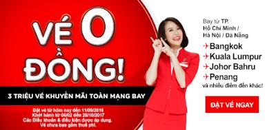 Đặt mua vé máy bay 0 đồng của Air Asia
