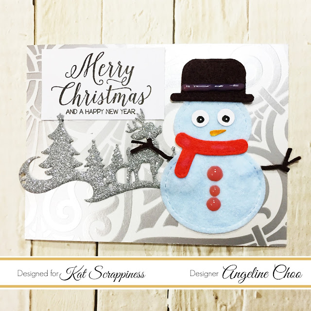 ScrappyScrappy: Merry Snowman with Kat Scrappiness #scrappyscrappy #katscrappiness #unitystampco #snowmancard #snowman #woodlandsreindeer #merrychristmas #christmascard #stamp #stamping #diecut #katscrappinessdie #card #cardmaking #papercraft #nuvojeweldrops