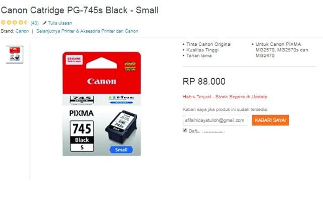Catridge PG-745s Black Small - Lazada