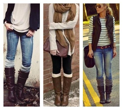 Dicas de como montar uma roupa usando bota e meias polaina. Inverno.