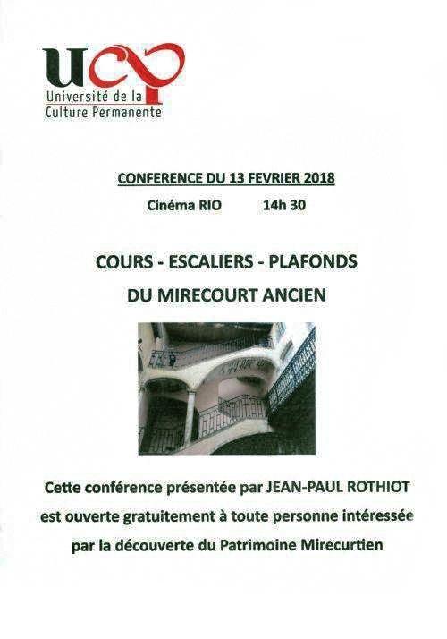 """MIRECOURT (88) - Conférence """"Cours, escaliers, plafonds peints du Mirecourt ancien"""" (13 fév. 2018)"""