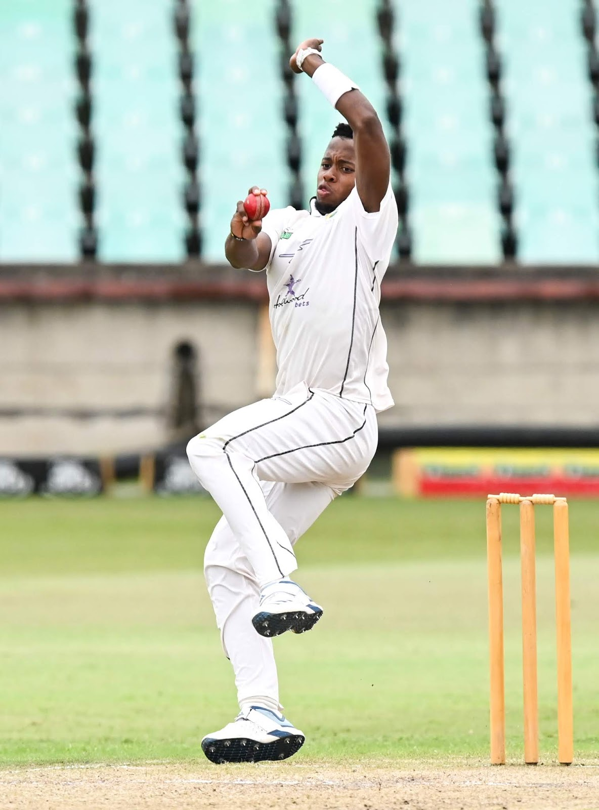 Okuhle Cele bowling for the Hollywoodbets Dolphins in the 4 Day Series