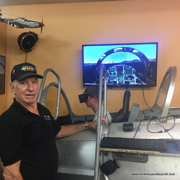 developer of 3-D Virtual Reality Flight Simulatorr C.J. with his project at Pacific Coast Air Museum in Santa Rosa, California