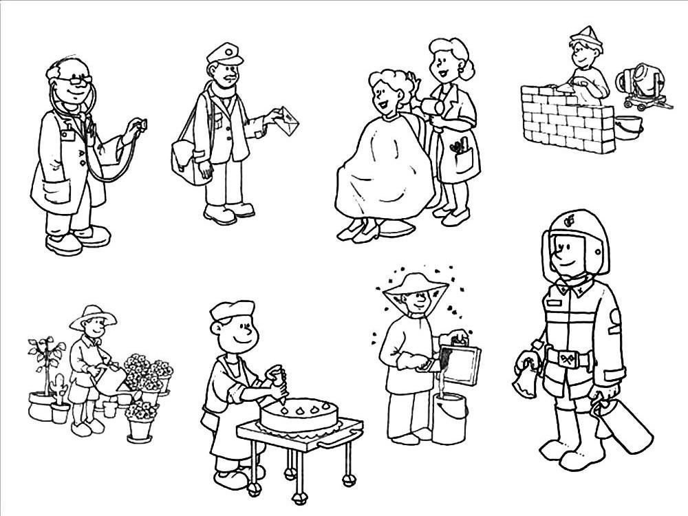 Картинки профессий для детей раскраска