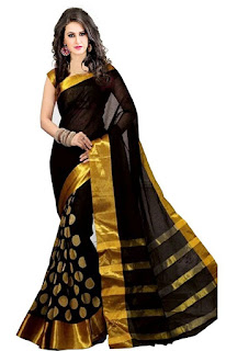 buy perfect blue cotton silk saree from amazon