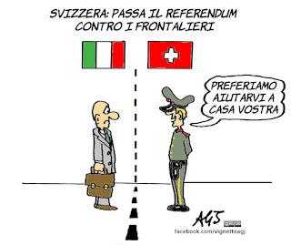 svizzera, lavoratori stranieri, referendum, frontalieri, satira, vignetta
