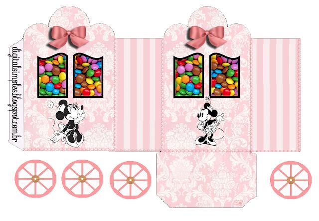 Minnie Vintage: Caja con forma de Carruaje para Imprimir Gratis.