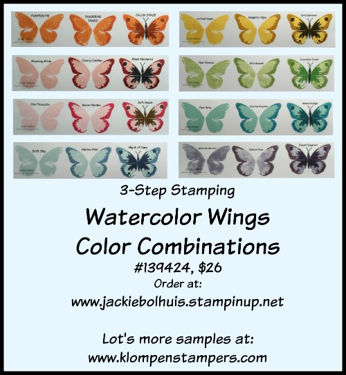 Watercolor Wings Color Chart Klompen Stampers