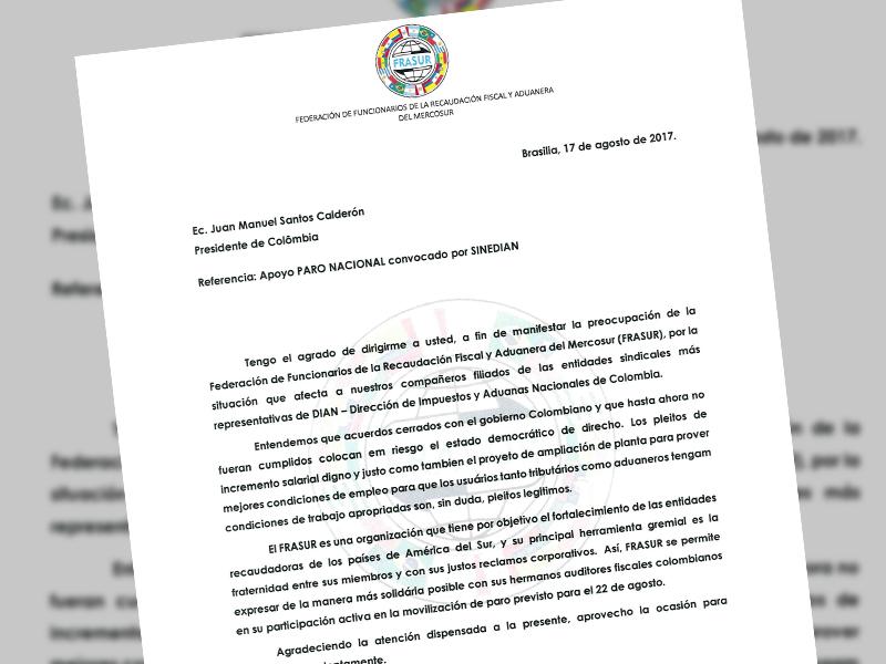 Carta de Frasur al Presidente Juan Manuel Santos