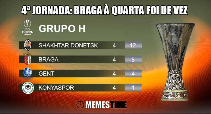 GIF Memes Time, da bola que rola e faz rir - Classificação após a 4ª Jornada do Grupo H da Liga Europa: Gent  3 – 5 Shakhtar Donetsk & Braga 3 – 1 Konyaspor - 4ªJornada: Braga à quarta foi de vez