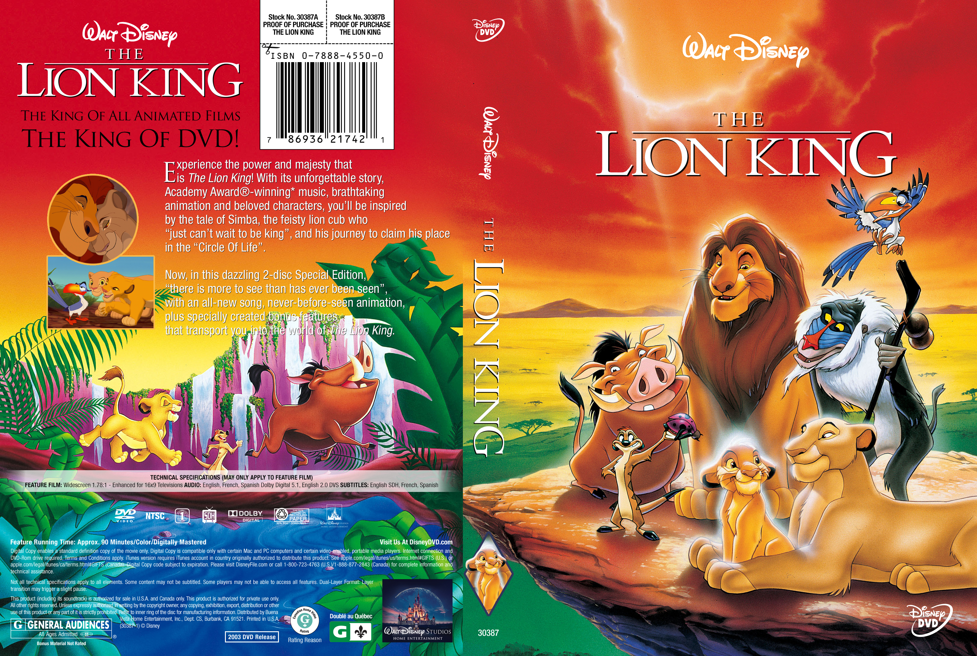 the lion king  1994  dvd cover