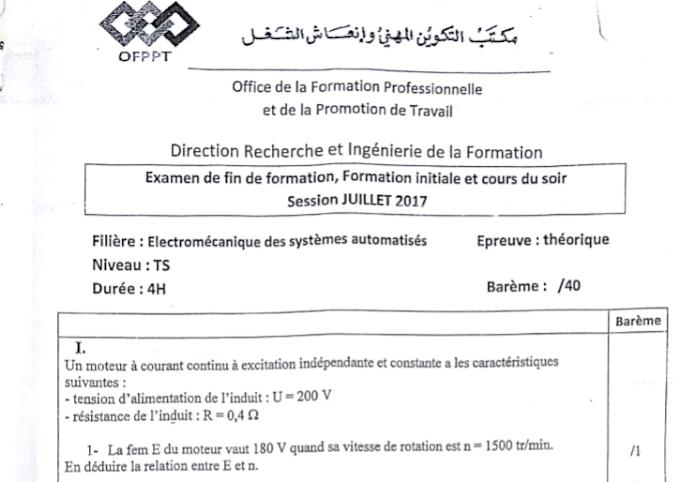 Examen + Corrigé( Théorique) de Fin Formation ESA 2017