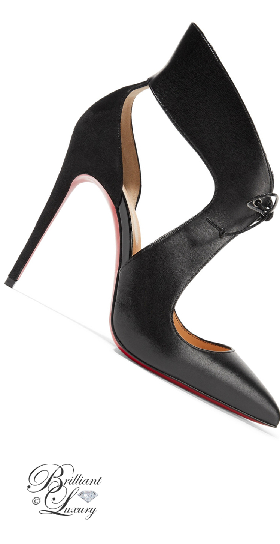 Brilliant Luxury ♦ Christian Louboutin Ferme Rouge Cutout Leather Suede Pumps