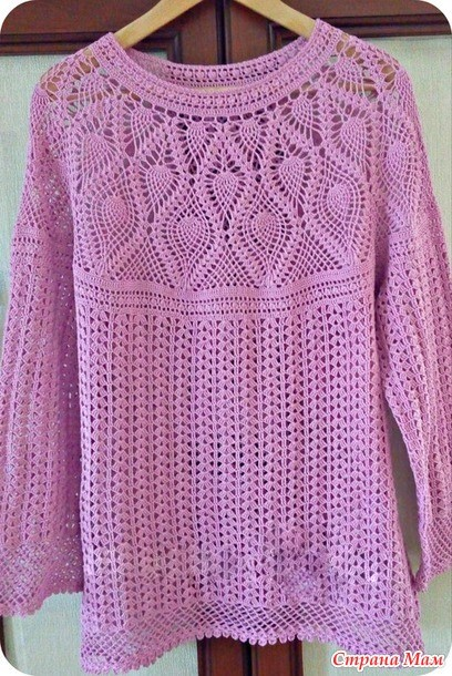 Pink crochet blouse with free pattern