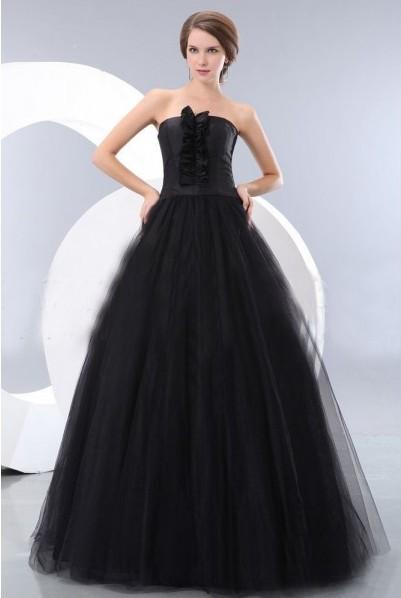 33271936582 Elegant Black Strapless Gothic Wedding Dress