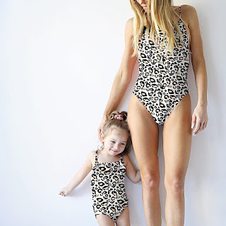 Mom Girl Leopard Grain Openback Matching Swimwear