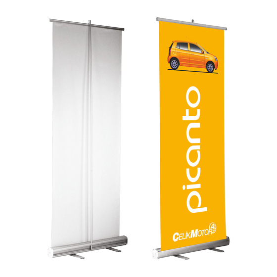 jenis macam tipe standing banner promosi percetakan jasa desainer grafis kelebihan kelemahan indoor outdoor bahan bagus berapa biaya harga price list digital printing offset sablon rangka kain