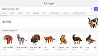 cari suara hewan via google voice