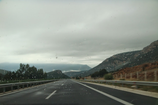 On a wet road to Kalamata Messinia, Peloponnese, Greece.
